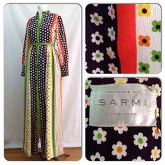 Vintage NoS Deadstock 1960s SARMI Floral Pop Art Belted Button Up Maxi Dress Small / 60s Boho Designer Stripe Long Sleeve Festival Dress (79.00 USD) by diggerodellvintage