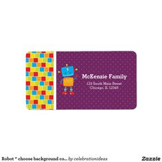 #Robot #label #kids Available in different products. Check more at www.zazzle.com/celebrationideas