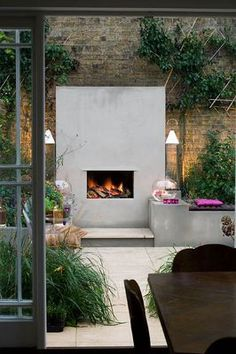 amazing outdoor fireplace.
