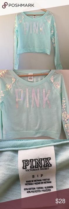 Victoria's Secret PINK Sequin Top Soft blue/green long sleeve top by Victoria's Secret PINK. Metallic silver letters across the front. White iridescent sequins embellished sleeves. Long sleeve. Crewneck. 60% cotton 40% polyester. Size Small. EUC. PINK Victoria's Secret Tops Tees - Long Sleeve