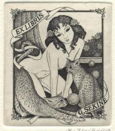 book plate - cat - G. Sekine
