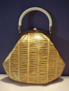 Vintage 1950's Plastic Purse with Lucite Handle Gold Woven Fibers
