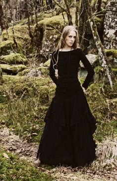 Long black skirt perfect for trailing around in the forest