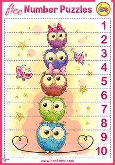 FREE Number Puzzles - Preschool Printables for Kids - Learning Numbers, Counting - Fun Math Activities and Worksheets for Homeschooling, Kindergarten and Grade 1 - by BonTon TV Free Preschool, Preschool Printables, Kindergarten Worksheets, Free Worksheets, Fun Math Activities, Toddler Learning Activities, Kids Learning, Number Puzzles, Puzzles For Kids