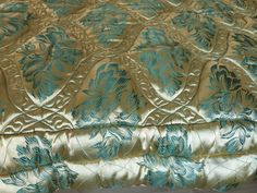 Antique French green gold satin wool filled floral quilt bedspread comforter coverlet throw bed spread, vintage bed linens, eiderdown