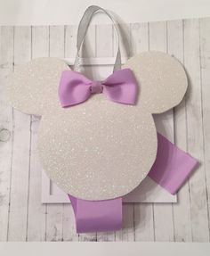 Minnie mouse hair bow clip holder hanging organizer Disney foam white bow ribbon violet bow clips gift baby shower nursery by CreationsbySAHM on Etsy https://www.etsy.com/listing/251035880/minnie-mouse-hair-bow-clip-holder