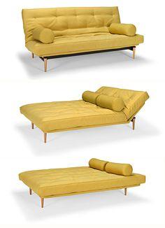 Innovation Colpus sofa. Материалы: стальной каркас, ножки из массива, текстиль. Размер: спальное место - 140х200 см, диван - Ш200хГ97хВ90(с40) см. 4 положения.