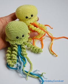 ~Ready to ship~  This listing is for one amigurumi jellyfish.  Totally hand crocheted in 100% cotton thread in pale yellow or lime green, the head is filled with hypoallergenic poliester fiberfill, black safety eyes.  Plush is approximately 15 cm long , the head is 6 cm wide and 4 cm tall, tentacles are 8-15 cm long.  It would be a unique and interesting home decor and a great gift for anyone who loves sea creatures.  Would you like one in different colors? Just contact me and well create…