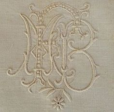 Fleishhacker Estate Antique Triple Monogram Fine French Linen Pillow Sham | Vintageblessings