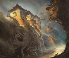 The Remote Monastery by najtkriss on DeviantArt. Asian art - character and environmental design - Asian fantasy art