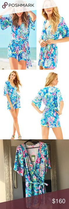 """Lilly Pulitzer Madilyn Romper in Dive In Bright comfy Romper in Multi Dive In print from Lilly Pulitzer.  Pretty tie sash and flattering surplice cut. 4"""" inseam. Material is thick and stretchy. Never worn, I ordered it and didn't try it on before my return period and it's a tag big on me 😩 this is currently in stores now. New with tags, details for $178. No trades. Lilly Pulitzer Pants Jumpsuits & Rompers"""