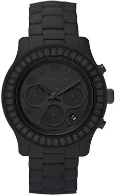 Michael Kors Polyurethane  Chronograph Quartz Women's Watch, Plastic, Black Dial, MK5395