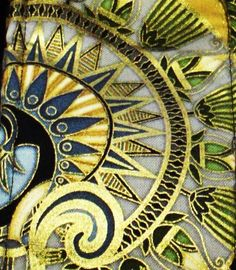 Gold Blue Green Black Guitar Strap Egyptian Lotus and Papyrus Motif