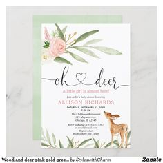 Woodland deer pink gold greenery girl baby shower invitation Deer Baby Showers, Couples Baby Showers, Boho Baby Shower, Floral Baby Shower, Baby Boy Shower, Bridal Shower, Baby Shower Invitation Cards, Baby Shower Invitations For Boys, Oh Deer