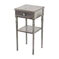 """Highly sought after c. 1930's american industrial diminutive simmons """"sheet metal"""" night stand or side table with finely turned tubular legs. #industrial #vintage #antique"""