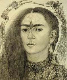 "Frida Kahlo, ""Self Portrait dedicated to Marte R. Gomez,"" 1946, pencil on paper. The Buddhist mystic's ""third eye"" is replaced here with a hummingbird joining Kahlo's eyebrows"