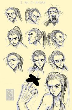 """Angry faces drawings reference. I know this belongs on my art board but, Lordy, how this looks like my daughter! The second one is what we called her """"Death Look"""",... or maybe it was #4. Or was it #8. If she sees this I will be seeing #10! Too funny!"""
