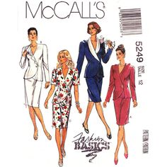 Wrap Jacket and Skirt Pattern McCalls 5249 Asymmetrical Collar Two Piece Dress Size 12 - product images  of
