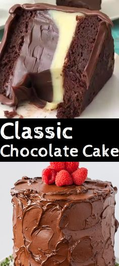 This Classic Chocolate Cake Pairs Moist Chocolate Cake Layers With A Rich & Silky Chocolate Buttercream. It's The Only Chocolate Cake Recipe You Will Ever Need! Classic Chocolate Cake Recipe, Chocolate Recipes, Ingredients For Chocolate Cake, Just Desserts, Delicious Desserts, Yummy Food, Mirror Glaze Kuchen, Easy Cake Recipes, Dessert Recipes