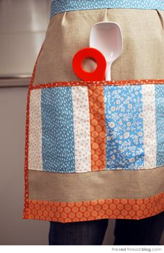 Free sewing pattern - make a patchwork pocket linen apron .   the red thread :: create, inspire, share