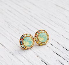 Love these. Opal, Aurora Borealis Earrings - Sugar Sparklers Small - Swarovski Crystal Pacific Green Opal, Aurora Borealis Rhinestone Stud Earrings