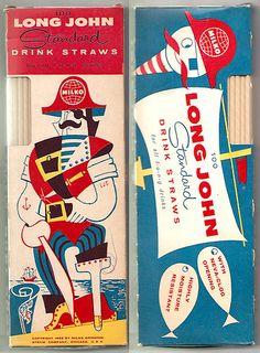 1956 Milko Long John LJS Pirate Drink Straws