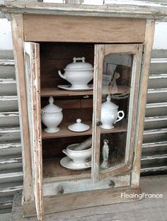 FleaingFrance...Antique French Cabinet with original glass and paint
