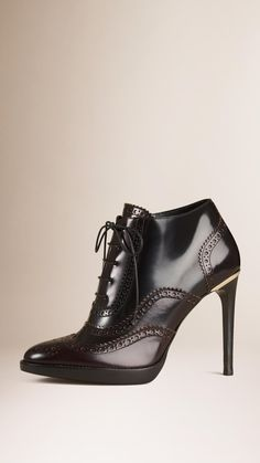 Brogue Detail Leather Ankle Boots Mahogany Red | Burberry