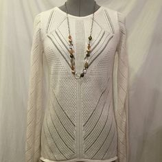 Design History patterned sweater Cream patterned sweater with sheer detail on lower back. Only worn once, perfect condition. For casual or office wear. Design History Sweaters Crew & Scoop Necks