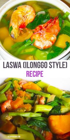 Laswa Recipe (Ilonggo Dish) boast a variety of vegetables in its list which includes Squash, Saluyot, Okra, Eggplant, String Beans and Shrimp Filipino Vegetable Recipes, Filipino Recipes, Veggie Recipes, Seafood Recipes, Asian Recipes, Dinner Recipes, Cooking Recipes, Healthy Recipes, Healthy Foods