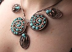 Spiral Leaf Tree Nymph Copper and Amazonite Necklace, absolutely LOVE!