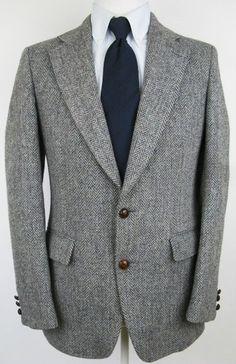 Men's Vtg HARRIS TWEED 38 R Gray Two Button Herringbone Tweed Blazer Jacket