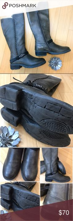 OTBT Caché boots, 8.5.  New!  From Athleta. OTBT Cache boots, size ladies 8.5. The color is a distressed gray (officially back/tan). These are brand-new. Leather upper with the decorative buckle and metal stud details. Distressed look. Heel height 1.5 inches, shaft 15 inches, circumference 15 inches. There is one small spot that has rubbed during shipping a little bit on the inside heel area, see pic. Otherwise these are in brand-new never worn condition.  Advertised in Athleta. Retails…