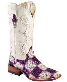 Ferrini Rockstar Purple & Silver Patchwork Glitter Cowgirl Boots - Square Toe
