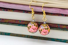 Rose Earrings by Libbis Designs - pink - Handmade - Distinctive - Wedding - Exclusive - Timeless - Unique - Lightweight - Pretty
