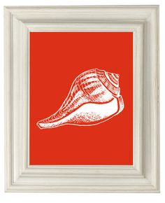 Digital Download No. 135, Orange Seashell Coastal Art  Print. $3.50, via Etsy.