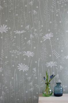 Daisy Meadow Wallpaper in Sage