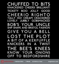 We're simply chuffed to bits at how popular our British Slang themed t-shirt has done so far. Many folks understand what the different phrases mean but we've gotten a few questions from some that don't know them all. So, here is a handy list for everyone curious as to what they all mean. All of […]
