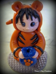 Polymer Clay Halloween Tiger by trinasclaycreations on Etsy, $25.00