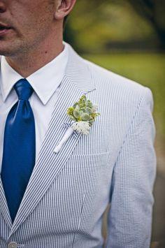 Fair Oaks Seersucker Wedding complete with Jos. A. Bank seersucker suits.     www.josbankformal.com