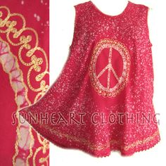 BOHEMIAN HIPPIE CHIC PEACE BATIK EMBROIDERY TANK TOP a great source for hippie, boho clothing