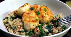 Parmesan Risotto with Asparagus & Scallops. YUM