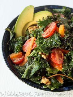 Tahini and Avocado Kale Salad Wraps from Will Cook for Friends
