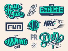 Fun with Nike Running concepts. They had nothing to do with this, we just thought it'd be fun. Logos, Logo Branding, Badge Design, Nike Running, Running Club, Running Shoes, Graphic Design Illustration, Graphic Design Inspiration, Sticker Design