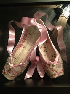 Pointe shoes made from vintage paper.