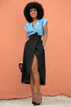 Wrap Denim Top + Origami Wrap Skirt