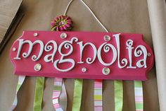 Custom name bow holder with wooden letters up to 7 letters ForFinley, $30.00