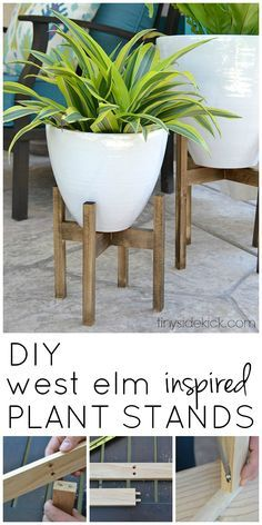 I love the look of simple wooden plant stands and this easy tutorial ads instant height and style to my plants! | DIY Ideas