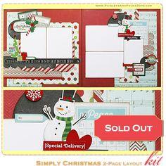 PaisleysandPolkaDots.com Simplement Noël 2 pages Kit Album-souvenir disposition complète les instructions $ 16,00