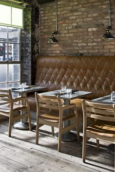 Pizza East   London Tufted Benches, Brick wall, Pendant Lamps, Cute Setup